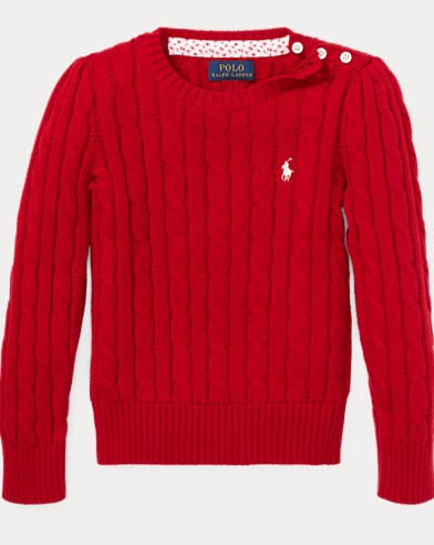 폴로 랄프로렌 걸즈 스웨터 레드 Polo Ralph Lauren Cable-Knit Cotton Sweater,Park Avenue Red