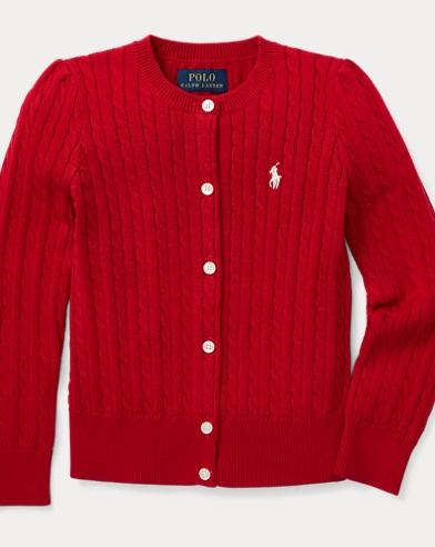 폴로 랄프로렌 걸즈 가디건 레드 Polo Ralph Lauren Cable-Knit Cotton Cardigan,Park Avenue Red