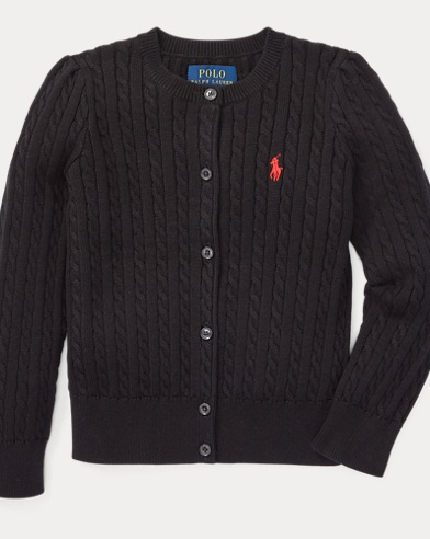 폴로 랄프로렌 걸즈 가디건 블랙 Polo Ralph Lauren Cable-Knit Cotton Cardigan,Polo Black