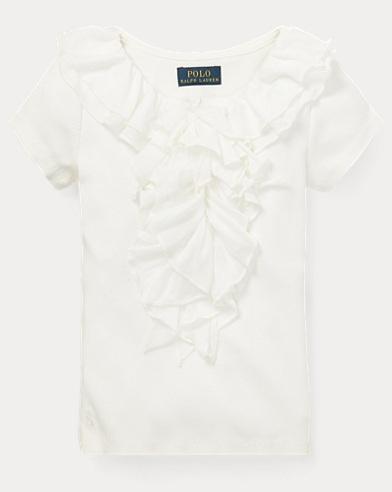 폴로 랄프로렌 Polo Ralph Lauren Ruffled Chiffon Cotton T-Shirt,Nevis