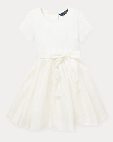 폴로 랄프로렌 걸즈 원피스 Polo Ralph Lauren Knit-Woven Fit-and-Flare Dress,Nevis