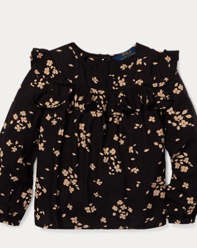 폴로 랄프로렌 Polo Ralph Lauren Floral Ruffled Top,Black/Cream