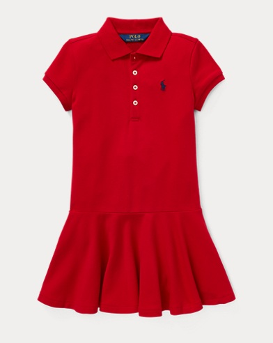 폴로 랄프로렌 걸즈 원피스 레드 Polo Ralph Lauren Stretch Pique Polo Dress,Park Avenue Red
