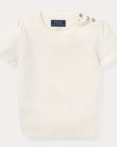 폴로 랄프로렌 걸즈 스웨터 크림 Polo Ralph Lauren Short-Sleeve Sweater,Cream