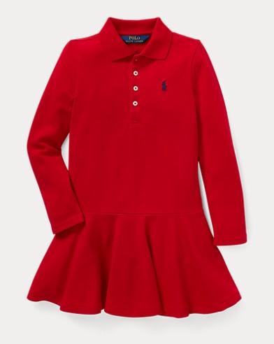 폴로 랄프로렌 걸즈 원피스 레드 Polo Ralph Lauren Stretch Mesh Polo Dress,Park Avenue Red