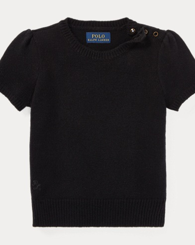 폴로 랄프로렌 걸즈 스웨터 블랙 Polo Ralph Lauren Short-Sleeve Sweater,Black