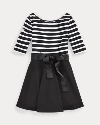 폴로 랄프로렌 걸즈 원피스 블랙/화이트 Polo Ralph Lauren Striped Ponte Dress,Polo Black/White