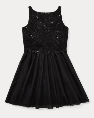 폴로 랄프로렌 걸즈 원피스 블랙 Polo Ralph Lauren Beaded Velvet-Tulle Dress,Polo Black