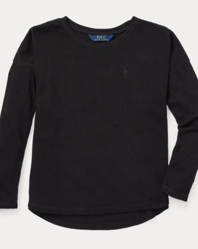 폴로 랄프로렌 걸즈 긴팔 티셔츠 블랙 Polo Ralph Lauren Waffle-Knit Cotton-Blend Top,Polo Black