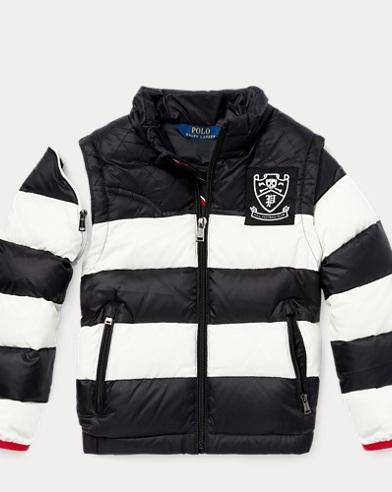 폴로 랄프로렌 남아용 럭비 패딩 Polo Ralph Lauren 2-in-1 Striped Down Jacket, Polo Black/Cream