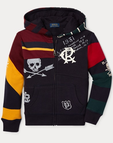 폴로 랄프로렌 남아용 짚업 후드티 네이비 Polo Ralph Lauren Patchwork Cotton-Blend Hoodie,RL Navy