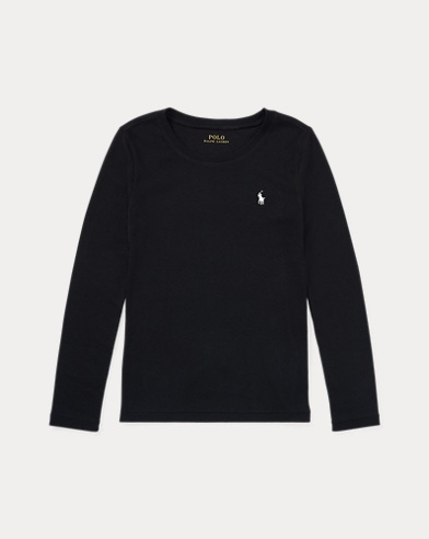 폴로 랄프로렌 걸즈 티셔츠 Polo Ralph Lauren Cotton-Blend Long-Sleeve Tee,Polo Black