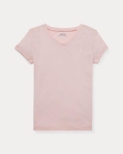 폴로 랄프로렌 걸즈 티셔츠 Polo Ralph Lauren Cotton-Modal V-Neck Tee,Hint Of Pink