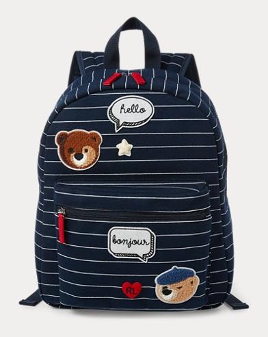 폴로 랄프로렌 스트라이프 백팩 네이비/화이트 Polo Ralph Lauren Striped Patch Backpack,Navy/White Stripe
