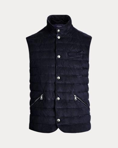 폴로 랄프로렌 Polo Ralph Lauren Quilted Suede Vest,Aviator Navy