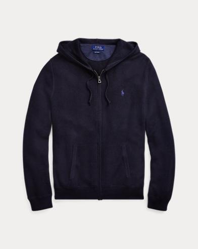 폴로 랄프로렌 짚업 후드 스웨터 - 네이비 Polo Ralph Lauren Cotton Full-Zip Sweater