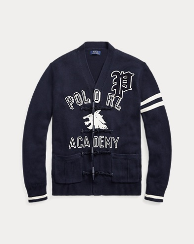 폴로 랄프로렌 Polo Ralph Lauren Cotton Letterman Cardigan,Navy