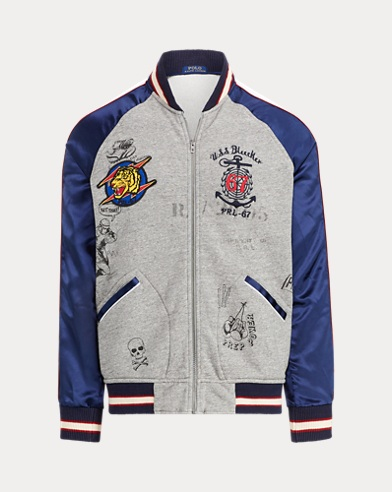 폴로 랄프로렌 Polo Ralph Lauren Souvenir Baseball Jacket,Bronx Heather Multi