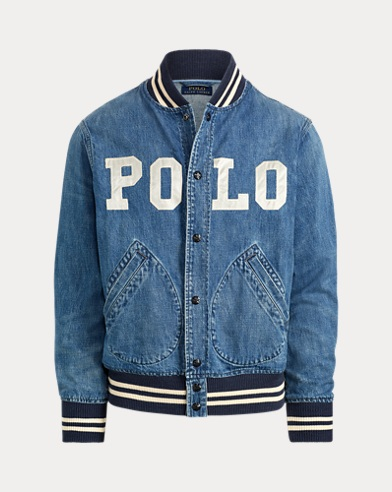 폴로 랄프로렌 Polo Ralph Lauren Varsity-Inspired Denim Jacket,Tillman