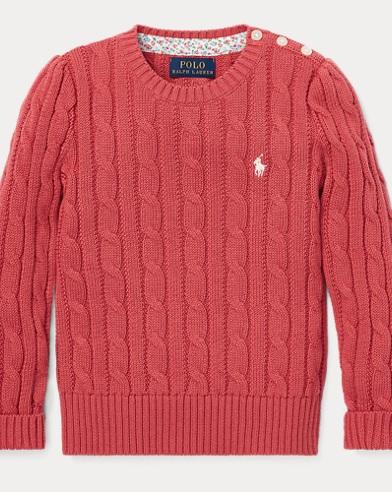 폴로 랄프로렌 Polo Ralph Lauren Cable-Knit Cotton Sweater,Adirondack Berry