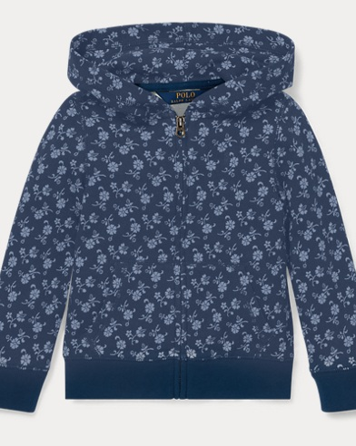 폴로 랄프로렌 Polo Ralph Lauren Floral-Print Cotton Hoodie,Blue/Cream Multi