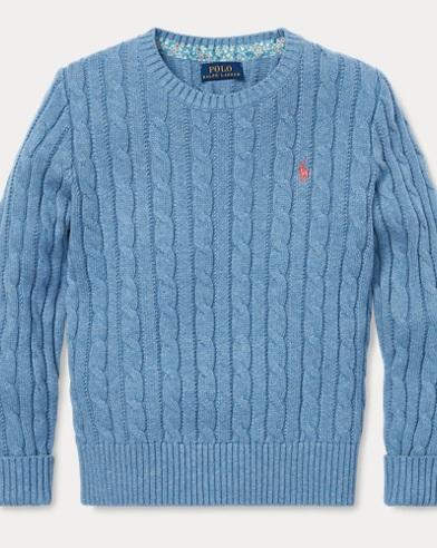 폴로 랄프로렌 Polo Ralph Lauren Cable-Knit Cotton Sweater,Denim Heather
