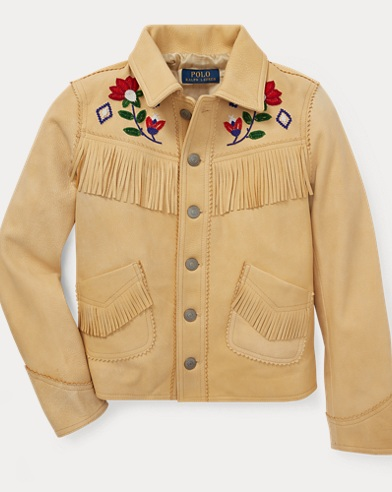 폴로 랄프로렌 Polo Ralph Lauren Beaded Fringe Deerskin Jacket,Chamois