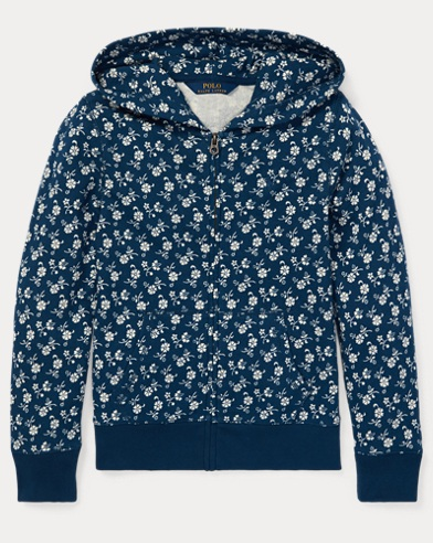 폴로 랄프로렌 Polo Ralph Lauren Floral-Print Cotton Hoodie,Blue/Light Blue Multi