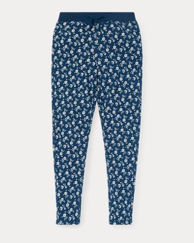 폴로 랄프로렌 Polo Ralph Lauren Floral Cotton Terry Pant,Blue/Cream Multi