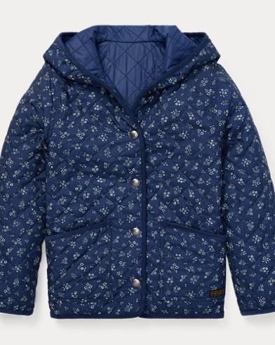 폴로 랄프로렌 걸즈 꽃무늬 양면 퀼팅 자켓 Polo Ralph Lauren Reversible Quilted Jacket,Blue Multi