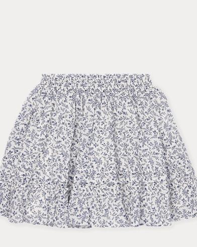 폴로 랄프로렌 Polo Ralph Lauren Floral Cotton Skirt,Cream/Navy