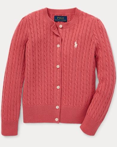 폴로 랄프로렌 Polo Ralph Lauren Mini-Cable Cotton Cardigan,Adirondack Berry