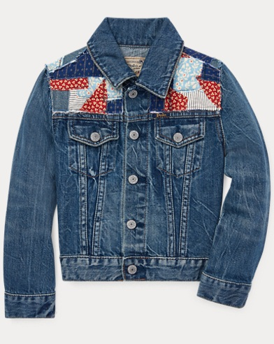 폴로 랄프로렌 여아용 패치워크 데님자켓 Polo Ralph Lauren Patchwork Denim Trucker Jacket,Pasilee Wash