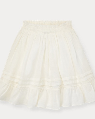 폴로 랄프로렌 Polo Ralph Lauren Ruffled Cotton-Blend Skirt,Antique Cream