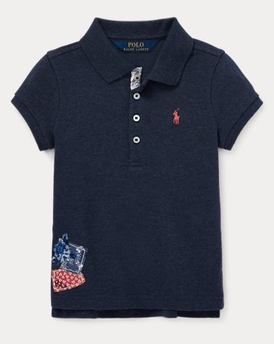 폴로 랄프로렌 Polo Ralph Lauren Flag Stretch Mesh Polo,Blue Heather