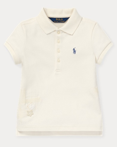 폴로 랄프로렌 Polo Ralph Lauren Flag Stretch Mesh Polo,Antique Cream