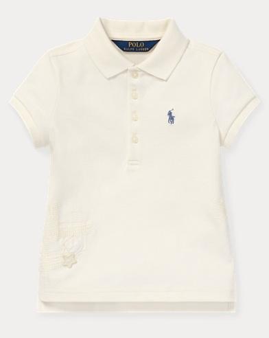 폴로 랄프로렌 여아용 폴로셔츠 Polo Ralph Lauren Flag Stretch Mesh Polo,Antique Cream