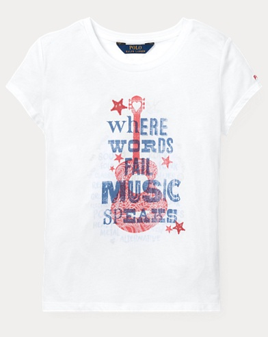 폴로 랄프로렌 Polo Ralph Lauren Cotton Jersey Graphic Tee,White/Red