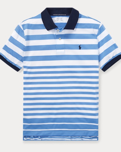 폴로 랄프로렌 Polo Ralph Lauren Striped Performance Lisle Polo,Cabana Blue Multi