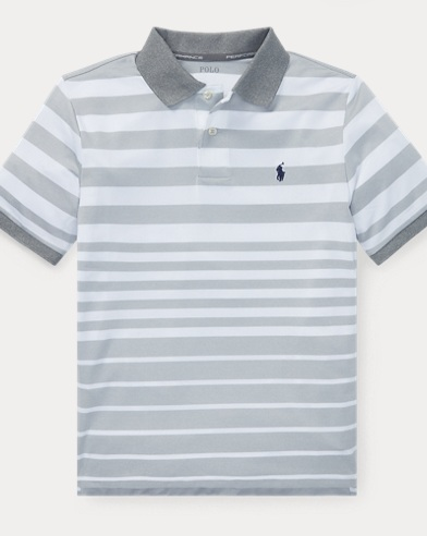 폴로 랄프로렌 Polo Ralph Lauren Striped Performance Lisle Polo,Grey Ash Heather Multi
