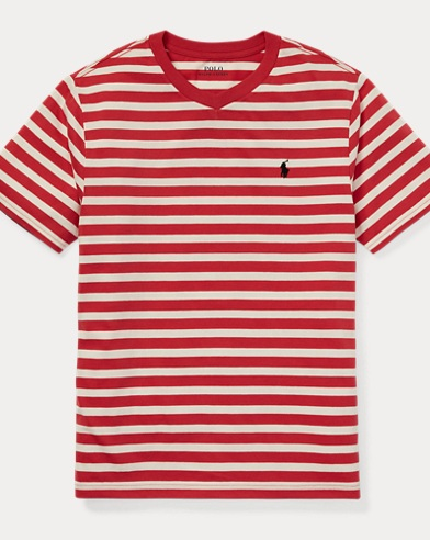 폴로 랄프로렌 Polo Ralph Lauren Striped Jersey V-Neck T-Shirt,Nantucket Red Multi