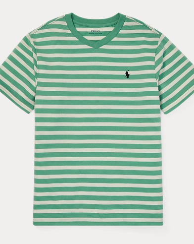 폴로 랄프로렌 Polo Ralph Lauren Striped Jersey V-Neck T-Shirt,Haven Green Multi
