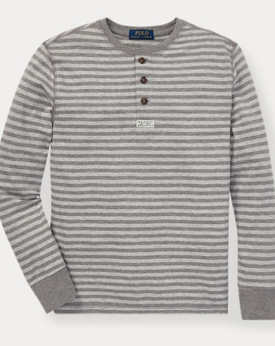 폴로 랄프로렌 Polo Ralph Lauren Striped Cotton Jersey Henley,Battalion Heather Multi