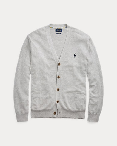 폴로 랄프로렌 Polo Ralph Lauren Cotton V-Neck Cardigan,Andover Heather