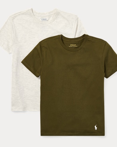 폴로 랄프로렌 보이즈  반팔 티셔츠 Polo Ralph Lauren Solid Cotton Crewneck 2-Pack,Olive/Oatmeal