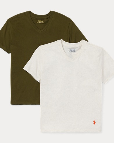 폴로 랄프로렌 보이즈 V-넥 반팔 티셔츠 Polo Ralph Lauren Cotton V-Neck 2-Pack,Olive/Oatmeal