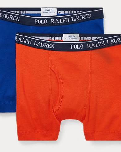폴로 랄프로렌 보이즈 Polo Ralph Lauren Boxer Brief 2-Pack,Orange/Royal