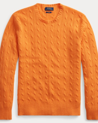 폴로 랄프로렌 Polo Ralph Lauren Cable-Knit Cashmere Sweater,Flare Orange