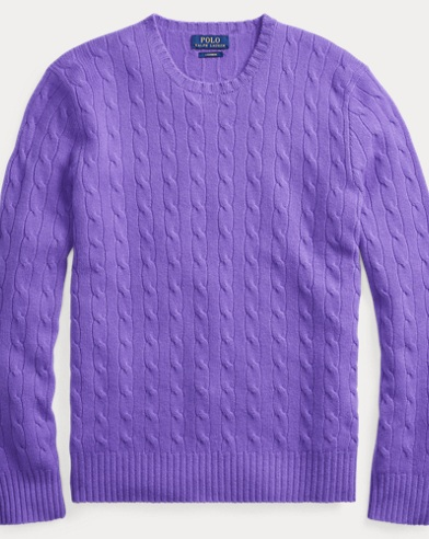 폴로 랄프로렌 Polo Ralph Lauren Cable-Knit Cashmere Sweater,Bright Purple