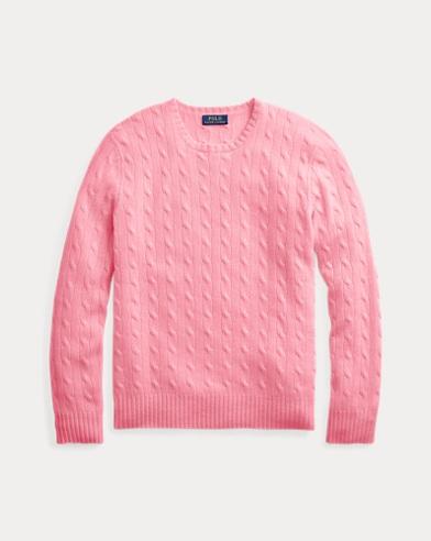 폴로 랄프로렌 Polo Ralph Lauren Cable-Knit Cashmere Sweater,Bright Pink